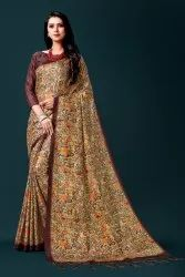 SILK INDIA Party Wear Printed Traditional Saree, With Blouse Piece, 5.5 m (separate blouse piece)