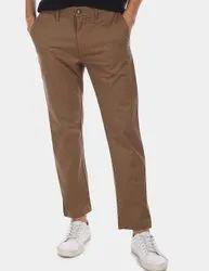 Regular Fit Casual Wear Men Brown Cotton Pant