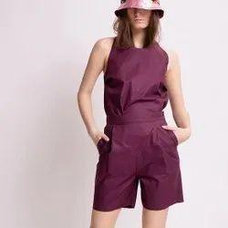 Plain Purple Ladies Crepe One Piece Dress