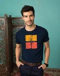 Self Cotton Printed T Shirt