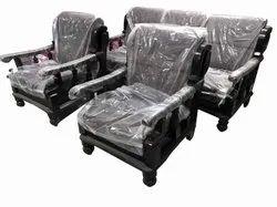 Black 5 Seater Velvet Wooden Sofa Set, Living Room