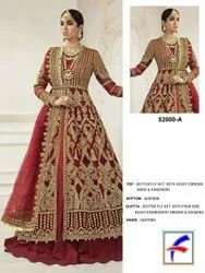 Wedding Wear 5 Colors Heavy Designer Bridal Gowns, Size: Free Size