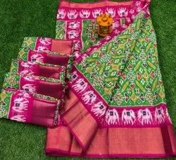 As Shown In The Image Silk Soft Ikkat Saree With 5 Inch Zari Borders