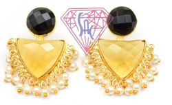 Black Onyx Citrine Quartz Gemstone Stud Earring Set