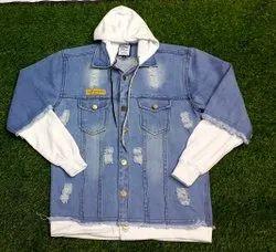 Full Sleeve Casual Jackets Men Faded Denim Jacket, Size: Large
