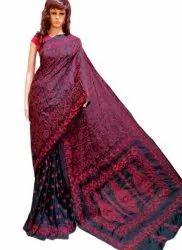 Black And Pink Ladies Fancy Kantha Stitch Saree, 0.8 M, 5.5 m (separate blouse piece)