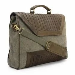 Olive Green Leather Canvas Laptop Bags