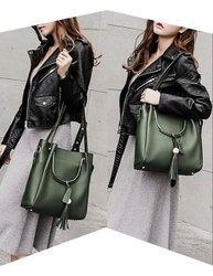 Ladies Green Leather Shoulder Bag