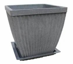 Grey Paris Square Pot With Tray