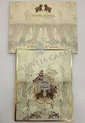Royal Elephant Theme Soft Golden Countering Feel Uv Foil Printed Wedding Card Invitation Card