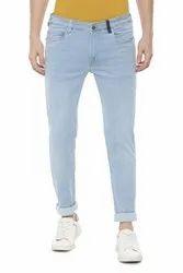 Plain Casual Wear Men Sky Blue Denim Jeans, Waist Size: 28
