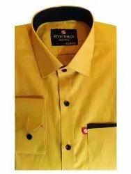 Stichmen Plain Yellow Full Sleeves Men Cotton Shirt, Machine wash
