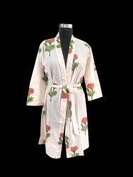 Hand Block Print Short Kimono Robe