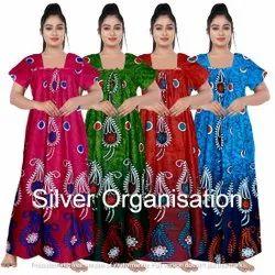 Full Length Cotton Woman Nighties, Free Size