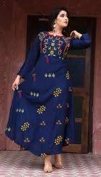 Formal Wear 3/4th Sleeve Indian Ethnic Designer Rayon Blue Printed Kurti, Wash Care: Handwash