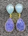 Peru Chalcedony With Purple Druzy Gold  Plated Earning