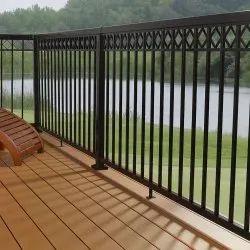 Black Bar Mild Steel Balcony Railing, For Residential