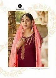 Kalarang Kanika Jam Silk Embroidery Work Dress Material Catalog