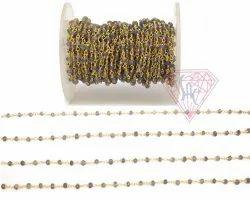 Natural Iolite Gemstone Beaded Rosary Chain