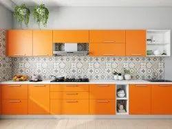 Modern Straight Modular Kitchen, Work Provided: False Ceiling/POP