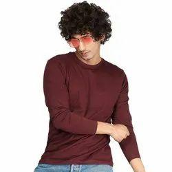 Round Hosiery Burgundy Mens Full Sleeves T-Shirt
