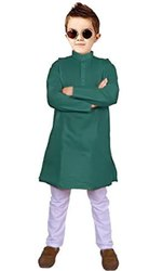 Green,white Festive Wear Fancy Kids Kurta Pajama