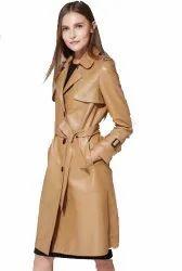Full Sleeve Brown Ladies Tan Shinning Leather Jacket
