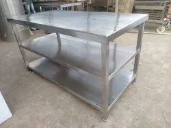 Stainless Steel Silver Ss Work Table With 2 Under Shelves, Size: 48 X 24 X 34 Inch
