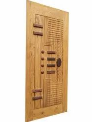 Brown Polished Decorative Wooden Door, Thickness: 35 Mm