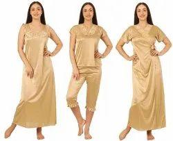 Satin Plain 4 Pieces Golden Ladies Nightwear Set
