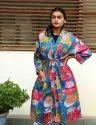 Blue Fruit Print Short kimono Robe