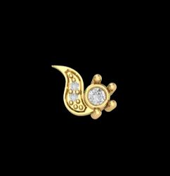 Perrian 18kt Yellow Gold And Diamond Nose Pin For Women, 0.59 Gms