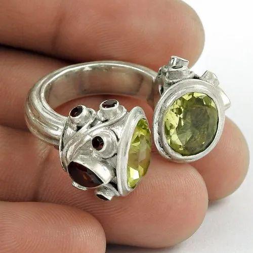 925 Sterling Silver Garnet, Lemon Topaz Ring