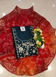Arihant fashion straight Blue Color Chanderi Silk Un-Stitched Suit with Banarasi Dupatta, Handwash