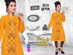 Rayon 3/4th Sleeve Ladies Embroidered Casual Wear Kurtis, Size: 3XL-4XL