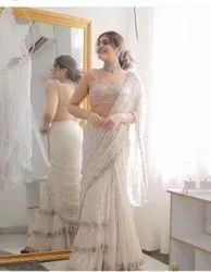 Present New Saree With Georgette With Embroidery Work With Raffle With Riyal Miral Hand Work