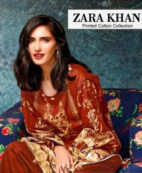 Zara Khan Cotton Karachi Printed Dress Material Catalog