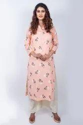 Cotton Casual Wear Ladies Printed Kurti, Handwash, Size: M