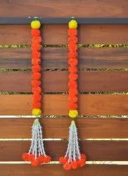 Artificial Marigold Hanging With Tuberose Flowers