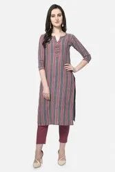 Striped Ladies Casual Cotton Kurti, Wash Care: Machine wash