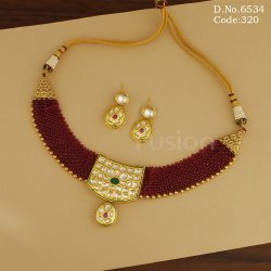 Fusion Arts Beaded Kundan Necklace Set