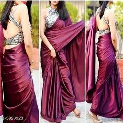 Party Wear Plain Pure Silk Saree