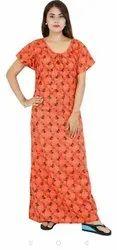 Full Length Night Dress Printed Cotton Nighties, Free Size