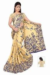 Party Wear Embroidered Mustard Women Silk Saree, 6.3 m (with blouse piece)