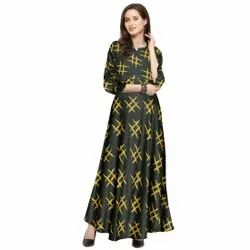Printed Stitch Long Gown, Size: Free Size