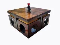 Advance Furniture 2.75 X 2.75 Feet Brown Wooden Center Table