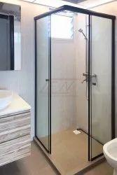 Black 8 Feet Aluminium Glass Bathroom Door