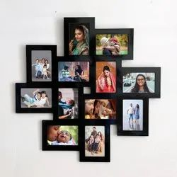 Black Multiple Photo Wooden Wall Photo Frames For Decoration, Size: 24 X 24 Inches