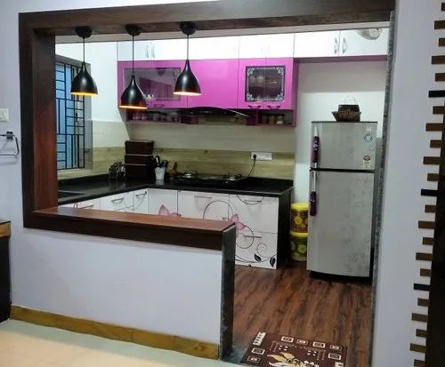 White Black Modern U Shaped Open Kitchen Wooden Cabinet Rs 950 Square Feet Id 23158834455