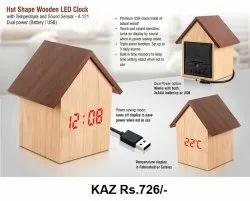 HUT Shape Wooden LED Clock